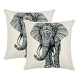 Jahosin Juego de 2 fundas de almohada de 45 x 45 cm, funda de cojín decorativa de elefante (elefante de boceto)