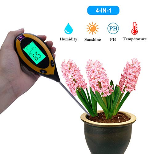 Best Bargain Goolifemhs Soil PH Meter, 4-in-1 Soil Tester with Moisture, Light, PH Meter and Thermom...