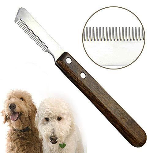 Aidiyapet Hund Trimmmesser Abisoliermesser Ergonomisches Unterwoll Deckhaar Trimm Messer aus gehärtetem und geschliffenem Edelstahl mit ergonomisch geformtem (Richtig)