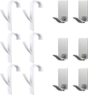 Toallero Ganchos Radiadores de baño, YANSHON 6PCS Perchas para Radiadores de baño y 6PCS Toallero ganchos para toallas adhesivos impermeables en acero inoxidable (12PCS)