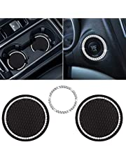 """Hianjoo Bling Auto Cup Holder Insert Coasters, (3 Pcs) 2.75"""" Car Interior Accessories Durable Anti Slip Silicone Car Cup 2 Pcs and Rhinestone Car Ring Stickers Ring Emblem Sticker Decors-Universal"""