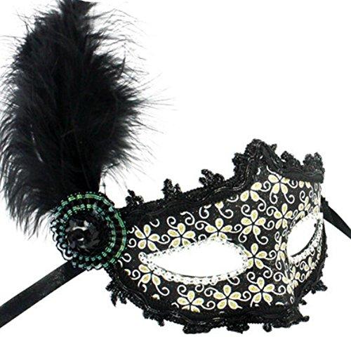 Villosités vénitienne Jolie Masquerade Masque Eye Fancy Dress accessoire Noir
