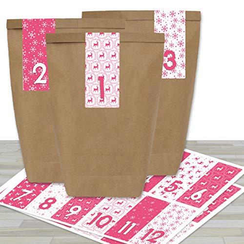 Adventskalender om te vullen, met 24 bruine papieren zakken en 24 roze gekleurde stickers, om zelf te maken en te knutselen, mini-set nr. 36, Kerstmis 2019 voor kinderen