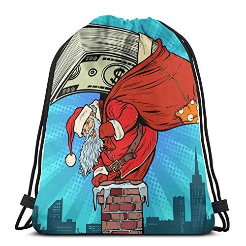 Money Cash Dollars Santa Claus with Gifts Drawstring bapa Large Capacity Men's and Women's Sports Gym Bag