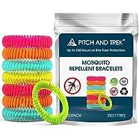 Pitch and Trek Pulsera Antimosquitos (x 10) - Pulseras Repelente de Mosquitos sin DEET para Bebés/Niños y Adultos - Protección Eficaz y Natural con Aceites Esenciales - Ahuyentador de Mosquitos