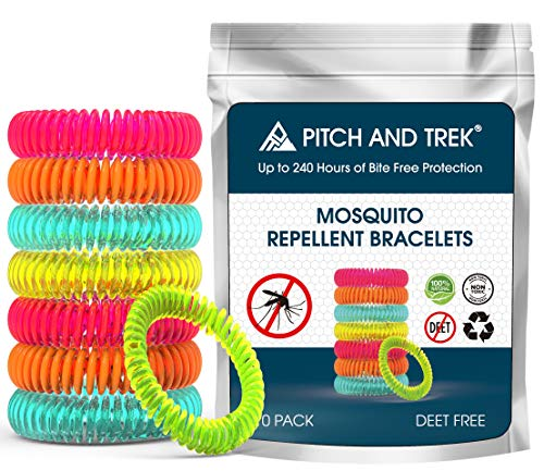 Pitch and Trek - Mosquito Repellent Bracelet 10 PACK - Fits All - Citronella All Natural DEET Free Anti Insect Bands - KEEP AWAY MIDGES - Waterproof Outdoor Bug Repeller Wristbands Safe For Children