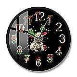 Usmnxo Adorno navideño impresión Reloj de Pared Ciervos Reloj de Pared asta decoración navideña Perro dueño Regalo 12 Pulgadas (30 cm) con Marco