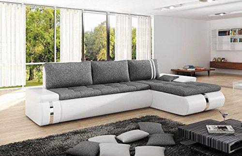 Ecksofa FADO MINI mit Schlaffunktion Sofa Couch Schlafsofa Polsterecke Bettfunktion (kunstleder schwarz / stoff INARI 96) (ottomane rechts, kunstleder weiß / stoff INARI 96)