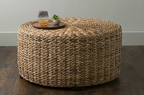 EAST at MAIN Langdon Brown Round Abaca Coffee Table, (35.5x35.5x18.5)
