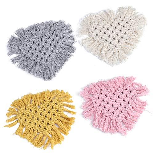 Coaster, Posavasos de corcho térmico tejidos a mano hechos de lana 17.8x20.6cm
