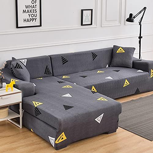 AHKGGM Funda Sofa 4 Plazas Triángulo Gris y Amarillo 235-300 cm