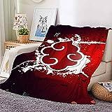 Mantas de forro polar, mantas de franela mullidas, suaves y cálidas, mantas de cama de cosplay de anime japonés para NARUTO, logotipo de Akatsuki para sofá cama sofás y sofás,Rojo,100x150cm