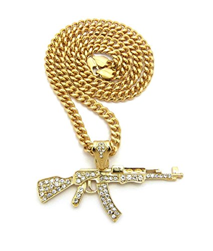 Shiny Jewelers USA Mens ICED Out Machine Gun AK47 Chopper,Uzi Weapon, Hand Gun Pendant Box, Rope, Cuban Chain 3 Necklace Set (AK47 Cuban Chain)