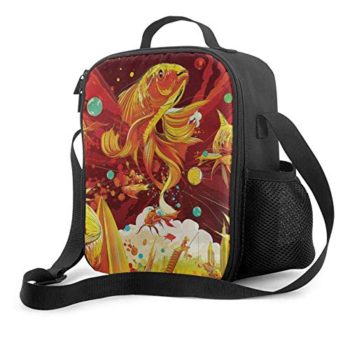 IUBBKII Bolsa de almuerzo con aislamiento Boys Girls Insulated Lunch Bag, Tote Handbag Lunchbox With Shoulder Strap, Food Container Gourmet Tote Pouch For School Work Office, Cute Goldfish Illustratio
