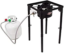 GasOne Portable Propane 100, 000-BTU High Pressure Single Burner Camp Stove & Steel Braided Regulator with Adjustable Legs Perfect for Brewing, Boiling Sap & Maple Syrup Prep