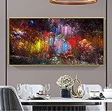 Impreso en lienzo Nubes coloridas Arte e impresiones Pintura al óleo abstracta Imágenes artísticas de pared modernas Póster Decoración para sala de estar 102x50cm Sin marco