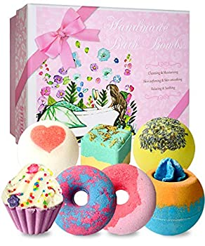 Bath Bombs 7 Natural Bath Bomb Gift Set Handmade Bubble Bathbombs for Women Kids Shea Butter Moisturize Gifts for Mom Her Girlfriend Mothers Day Gifts for Birthday Valentines Christmas