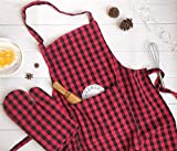 Pixel Home Cotton Checks with Front Center Pocket Apron with Oven Mitt (Red Checked)