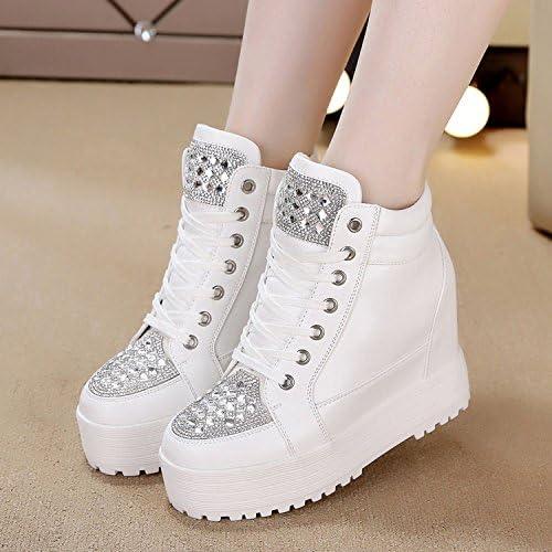 KHSKX-Korean Rhinestones 10 De Tacon zapatos De plataforma Suela Gruesa Transpirable Jacobs Aumentado Ocio Alto zapatos De mujer