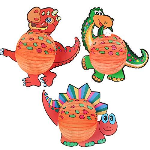 Bluelves Laterne mit Dino Motiven, 3 Stück Dino Papier Lampion, Dinolaterne, Papierlaterne für Sankt Martin und Halloween Laternenumzug Dekoration, Martinslaterne für Kinder