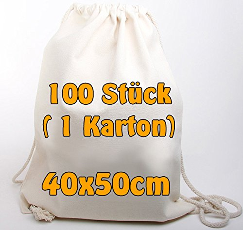 Moderne canvasrugzak, katoenen rugzak van jeansachtige stof (zeer robuust en bestendig), onbedrukt met trekkoord, naturel, 40 x 50 cm, 100 zakken in doos