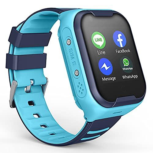 URJEKQ Reloj Inteligente para niños LBS Rastreador Podómetro Impermeable cámara SOS Pantalla táctil Conversación Bidireccional Reloj Inteligente para niños Regalo para para Niños Niña,Azul