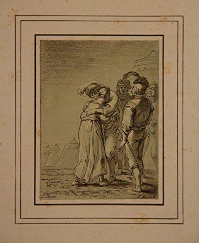 Gruppe von 4 Männern, sich von einer Frau verabschiedend, Im Hintergrund orientalische Zelte. Getönte Lithographie mit Weißhöhung nach L. Bramer.