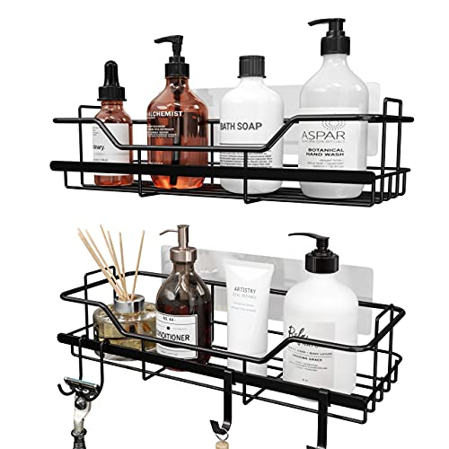 Matte Black Shower Caddy, Adhesive Shower Shelf for Inside Shower, No Drilling Rustproof Stainless Steel OMAIRA Shower Organizer for Bathroom & Kitchen Storage (2 Pack)