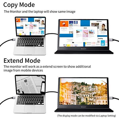 WIMAXIT 15,6 Zoll tragbarer Monitor 1920 × 1080 Full HD IPS-Bildschirm mit HDMI für Laptop, PC, MacBook Pro, Xbox, PS4, Android-Telefon mit Typ C-Vollfunktion