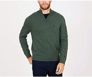 Nautica 男士半拉链粗线袖毛衣
