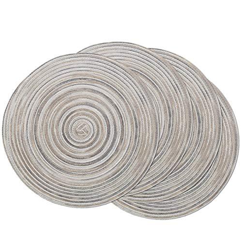 SHACOS Jogo de mesa redondo trançado 15 polegadas conjunto de 4 descansos de mesa de cozinha laváveis variados para festa de casamento em casa (cinza arco-íris, 4)