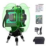 Depmog Niveau Laser Vert 3D Professionnel, 3X 360 ° 12 Lignes Croix Niveau Laser Green Rotatif Automatique Avec Vertical et Horizontal pour Intérieur et Extérieur
