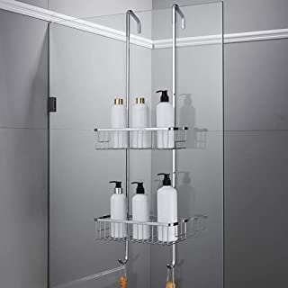 AINIYF Bathroom Bathroom Shelf Shower Organiser Wall-Mounted Punch Free 304 Stainless Steel Hanging Net Basket, 2 Sizes (S...