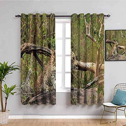 Nileco Cortinas Opacas Termicas - Bosque animales leopardo paisaje - 234x138 cm - Cortinas del Dormitorio de la Habitación de los Niños - 3D Impresión Digital con Ojales Aislamiento Térmico