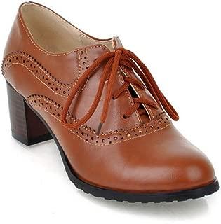 Womens Block Heel Oxfords Lace-up Pointd Toe Dress Pumps Loafers Vintage Handmade Platform Shoes