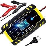 YDBAO Chargeur de Batterie Intelligent 8A 12V/24V Chargeur de Batterie Portable Automatique pour Voiture Moto Réparation Convient à Batterie AGM Gel Wet SLA
