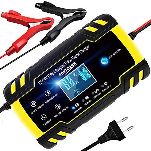 YDBAO Chargeur de Batterie Intelligent 8A 12V 24V Chargeur de Batterie Portable Automatique pour Voiture Moto Réparation Convient à Batterie AGM Gel Wet SLA