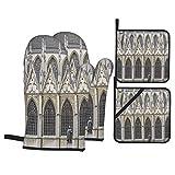 Guanto da forno 4 pezzi e presina,Cattedrale di San Michele Gudula cattolica romana,Guanti da antiscivolo impermeabili e resistenti al calore a microonde per cucinare e cuocere in cucina