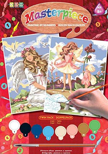 MAMMUT 8230818 Malen nach Zahlen Junior Fantasy, Doppelpack, Komplettset mit 2 bedruckten Malvorlagen im A4 Format, 8 Acrylfarben, Pinsel, Anleitung, Malset für Kinder ab 8 Jahre