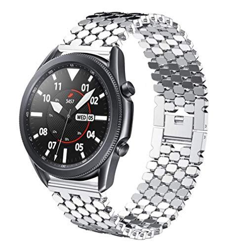 Correa compatible con Galaxy Watch de 46 mm/Galaxy Watch 3 de 45 mm, 22 mm, acero inoxidable a escala de peces de repuesto para Samsung Gear S3 Frontier/Classic/Huawei GT2 de 46 mm, color plateado