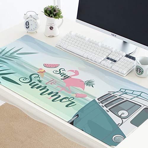 Muispad, Zomer Flamingo Dier Bladerachtige Plant Watermeloen Blauw Oversized Waterdichte Gecapitonneerde Muis Pad Toetsenbord Pad Geschikt voor Meubilair Student Tafelmat Gift 40x90cm