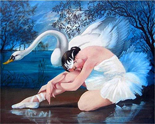 HU0QWPKU Witte zwanen en en ballerina meisjes kinderen schilderen digitaal doek doe-het-zelf mooie romantische olieverfschilderij patroon kunstenaar familie decoratie kunst geschenk kind 30 cm x 40 cm.