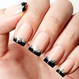 YUNAI French Fake Nail Nude Nails with Black and Glitter Top Artificail Nails for Daily Wear Medium-Long Size Nails