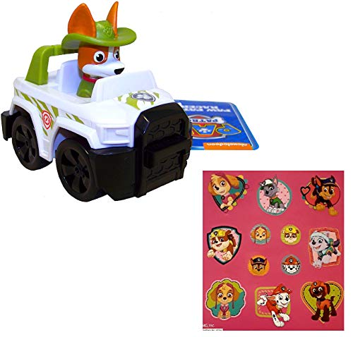 Paw Patrol 3.5' Rescue Racers, Tracker Jungle Pup with Bonus 12 Stickers Sheet Bundle (2 Items)