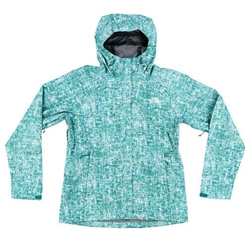 The North Face Women's Novelty Venture Full Zip Hooded Waterproof Rain Jacket (Green Print, L)