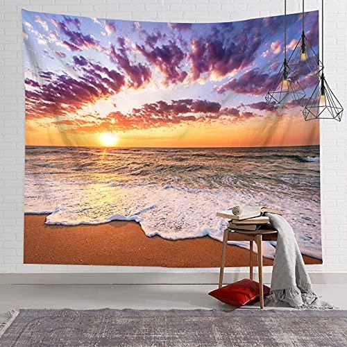 Playa Cocotero Mar Paisaje Tapiz Tela para Colgar Fondo Tela Sala de Estar Mantel Tela Decorativa A9 130x150cm
