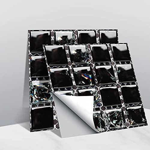 Hiseng Rectángulo Adhesivos Decorativos Azulejos Pegatinas para Baldosas del Baño, Mármol 3D Mosaico Estilo Cocina Resistente al Agua Pegatina de Pared, 10x10cm (Negro Mosaico,10Piezas)