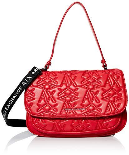 Armani Exchange A X Damen Top Handle Bag Tasche mit Griff oben, rot, Einheitsgröße