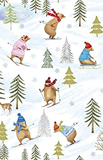 Bear Mountain Christmas Wrapping Paper Roll, 2 Feet x 20 Feet Premium Christmas Wrapping Paper with Sledding and Skiing Bears in Sweaters, Made in USA, WRAP & Revel® R