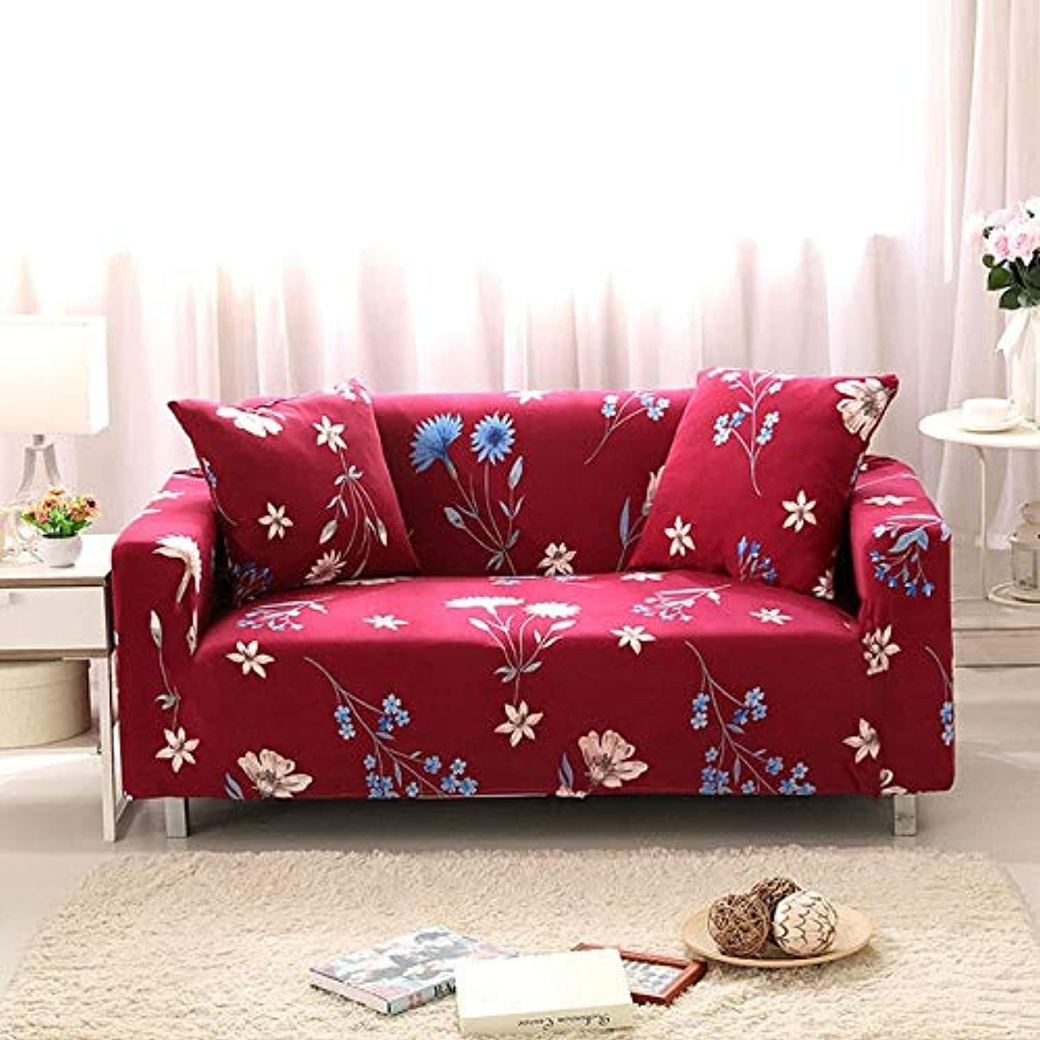 Floral Printing Stretch Elastic Sofa Cover Cotton Sofa Towel Slip-Resistant Sofa Covers for Living Room   colour2, 2-Seater 145-185cm